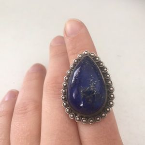 Jewelry - Metal cocktail ring with blue stone